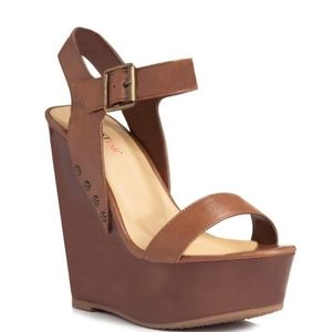 Just Fab Willow wedges brown Size 8